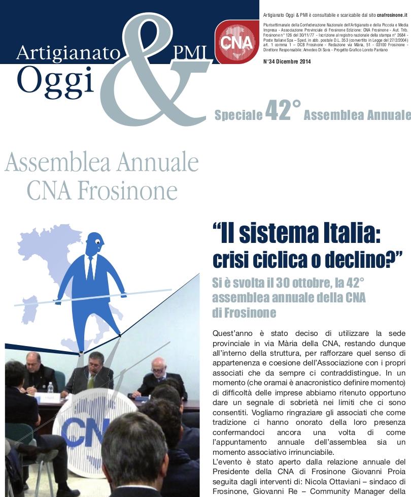 """Featured image for """"Numero di Dicembre 2014 di Artigianato&PMI Oggi – Speciale Assemblea Annuale"""""""