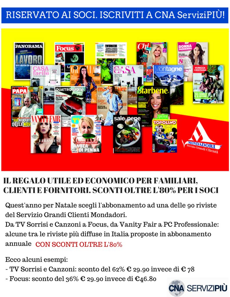 """Featured image for """"CNA ServiziPIU'. Riviste Mondadori, sconti oltre l'80% per i soci CNA"""""""