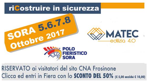 """Featured image for """"MATEC Edilizia 4.0 – Dal 5 all'8 ottobre Fiera di Sora. Sconto del 20% per esporre"""""""
