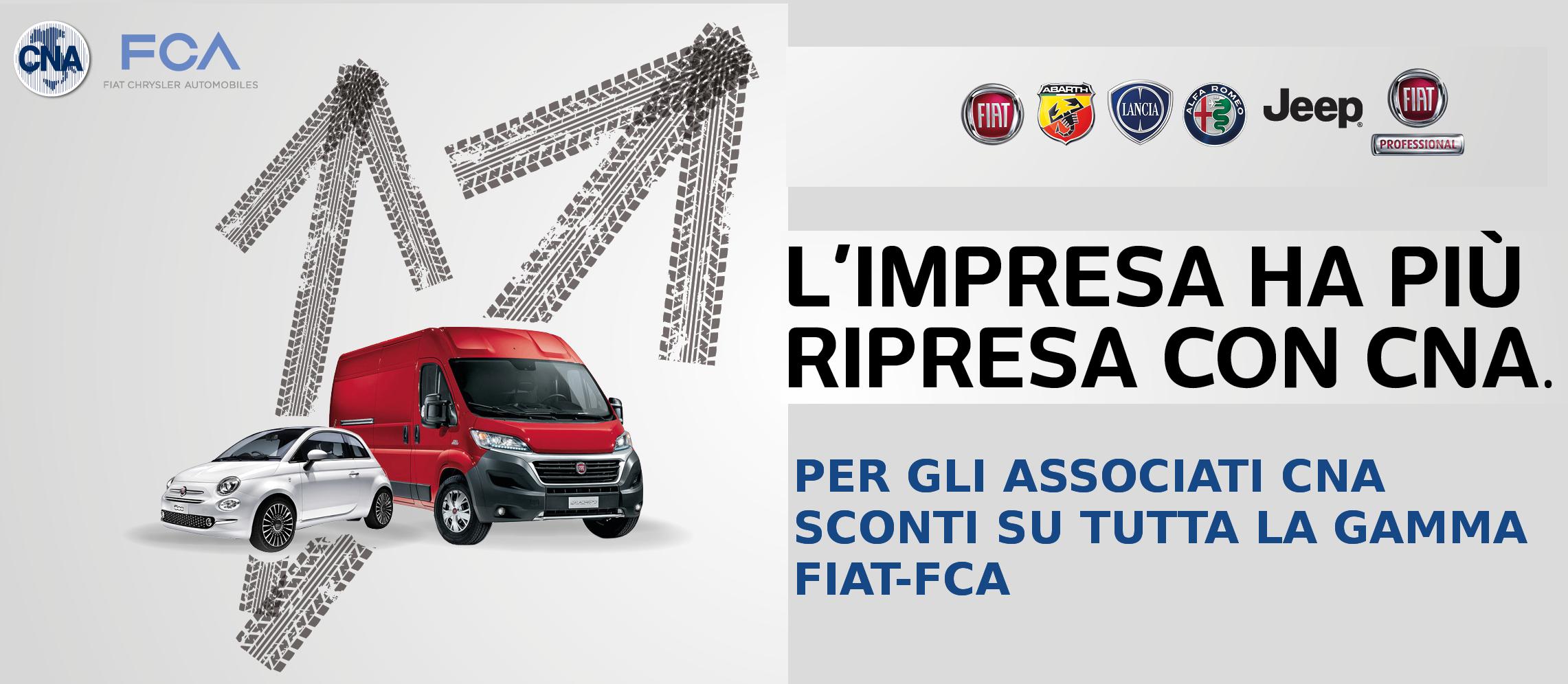 """Featured image for """"Vetture/veicoli commerciali Fiat, Alfa Romeo, Lancia, Jeep, Abarth e Mopar: prezzi scontati per gli associati CNA"""""""