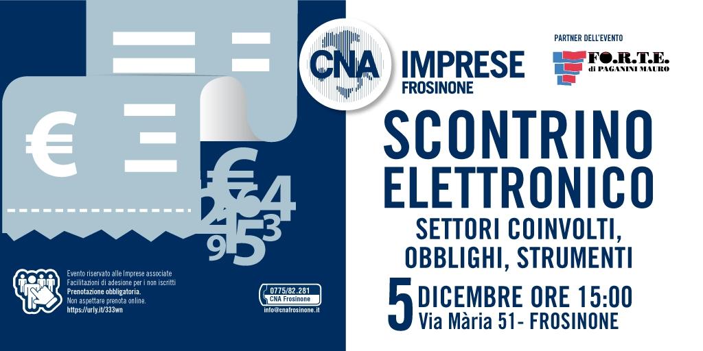 """Featured image for """"Scontrino Elettronico: obblighi, strumenti, settori coinvolti – 5 dicembre CNA Frosinone"""""""