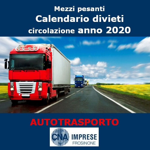 """Featured image for """"Calendario divieti di circolazione mezzi pesanti anno 2020"""""""