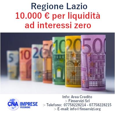 """Featured image for """"Regione Lazio. Finanziamenti per 10.000 euro per liquidità ad interessi zero"""""""