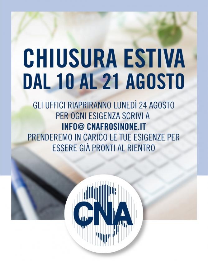 """Featured image for """"CNA Frosinone – Chiusura estiva dal 10 al 21 agosto"""""""